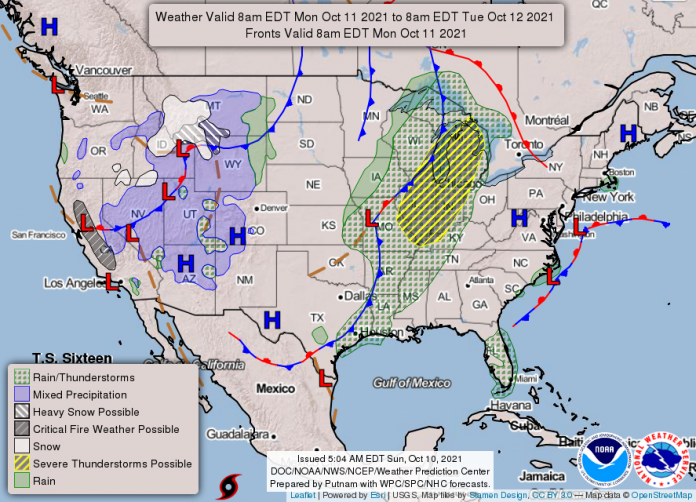 National Weather Service map October 11, 2021