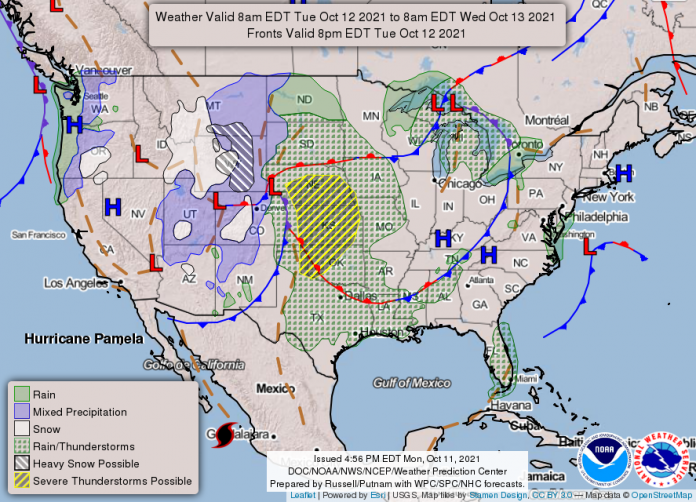 National Weather Service map October 12, 2021